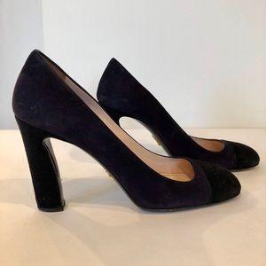 Prada navy and black suede  square toe heels